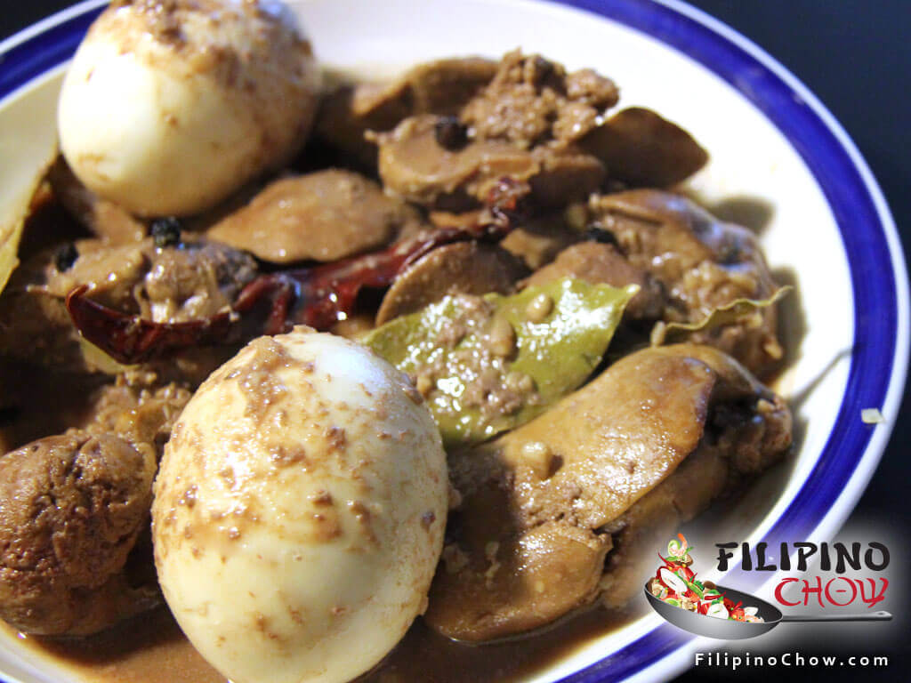 Chicken Liver Adobo with Hard Boiled Egg