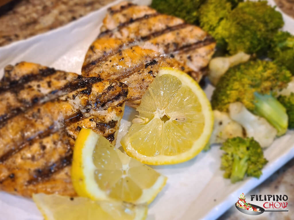 Wood Fire Grilled Salmon with Roasted Broccoli and Cauliflower